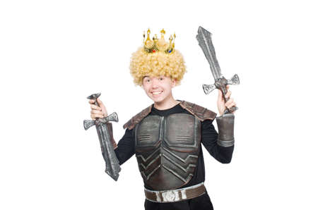 Funny king with sword isolated on white Stock Photo