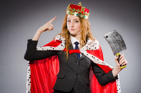 woman handle success: Woman queen businesswoman with axe