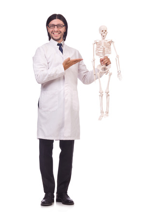 Funny teacher with skeleton isolated on white photo