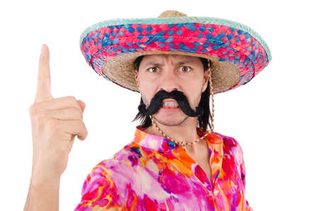 irate: Funny mexican with sombrero hat Stock Photo