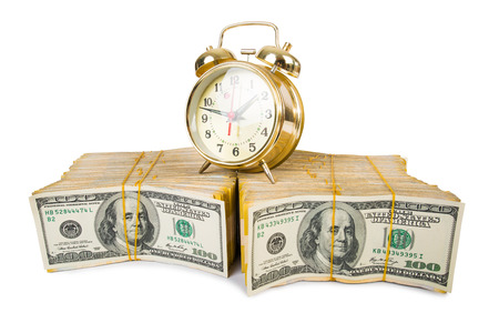 monies: Time is money concept with clock and dollars
