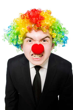 irate: Businessman clown in funny concept isolated on white Stock Photo