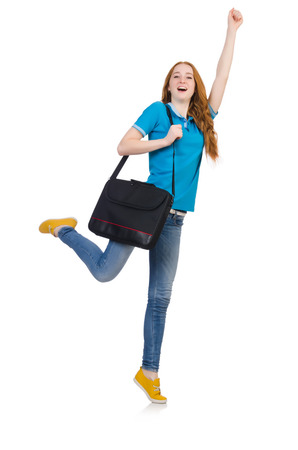 Woman with backpack isolated on white photo