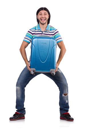 Young man travelling with suitcases isolated on white photo