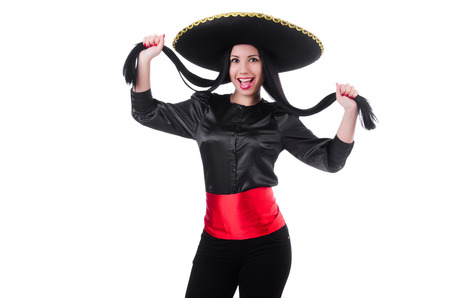 Mexican woman isolated on the white background photo
