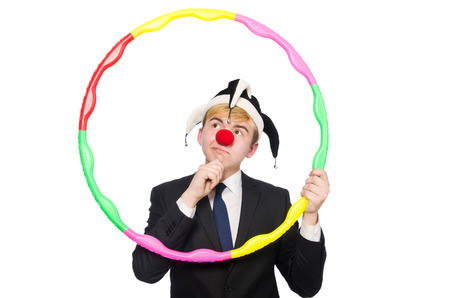 Businessman clown in funny concept isolated on white photo