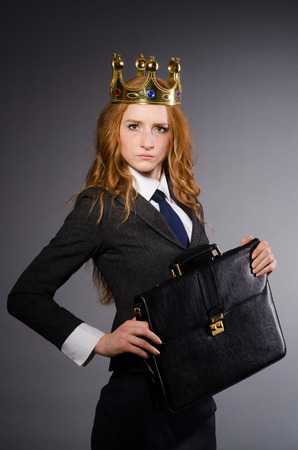 irate: Queen businesswoman in funny concept Stock Photo