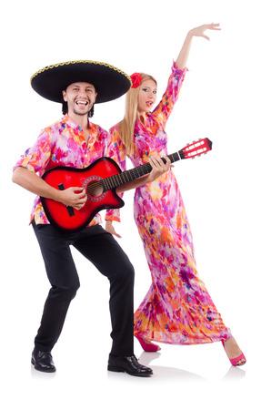 Spanish pair playing guitar and dancing Stock Photo