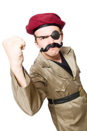 irate: Funny soldier in military concept Stock Photo