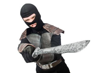 swordsman: Ninja with knife isolated on white