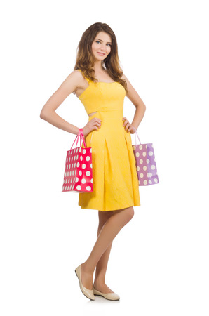 after shopping: Woman after shopping spree on white Stock Photo