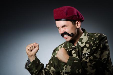 guerrilla warfare: Funny soldier in military concept Stock Photo