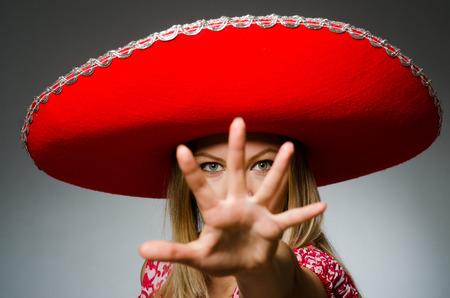 merry dancers: Woman wearing nice red sombrero