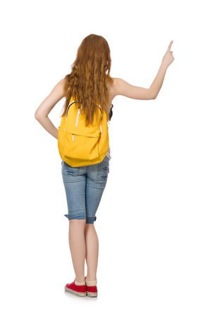 Young student with backpack isolated on white photo