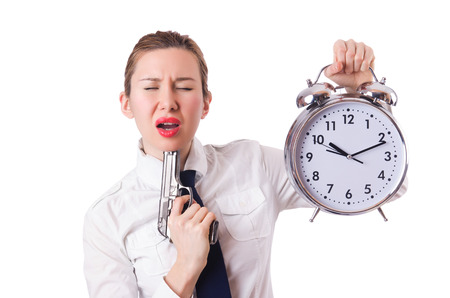 killing: Woman with clock killing the time Stock Photo