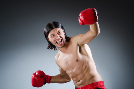 feeble: Martial arts fighter at the training Stock Photo
