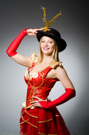feathered: Pirate woman with feathered hat Stock Photo