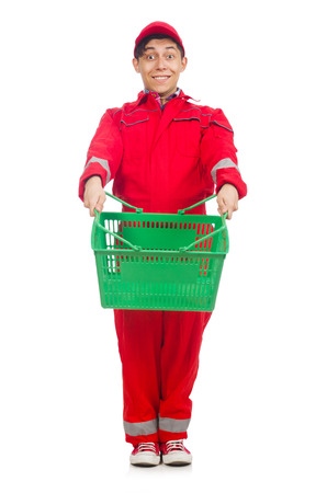 reach customers: Man in red coveralls with shopping supermarket cart trolley