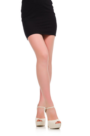 opentoe: Woman legs with shoes isolated on the white