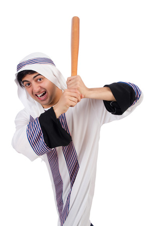 suriyah: Arab man hitting with baseball bat isolated on white Stock Photo