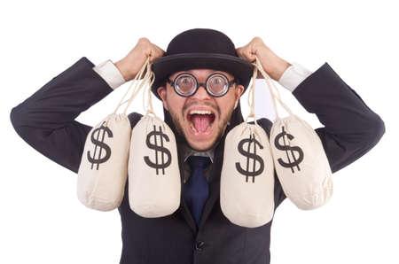 Man with sacks of money isolated on white photo