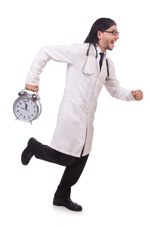 Man doctor with clock isolated on white photo