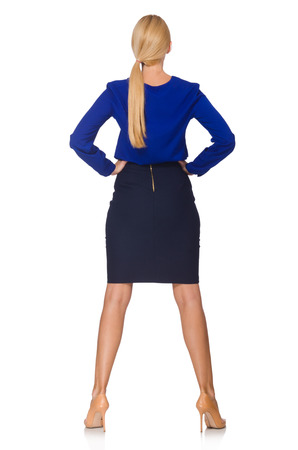navy blue suit: Young woman in fashion concept