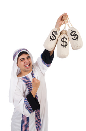 suriyah: Angry arab man isolated on the white Stock Photo