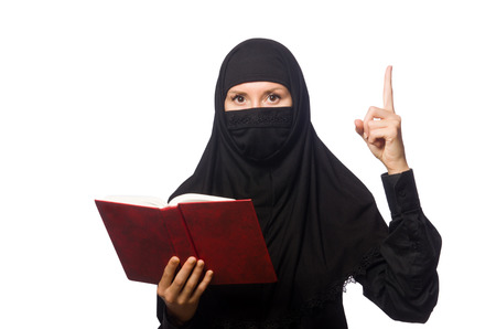 Muslim womanwith book isolated on the white photo