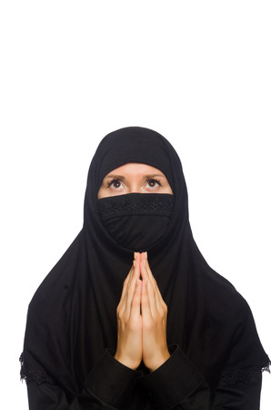 Muslim woman isolated on the white photo