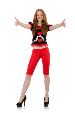 capri pants: Woman giving thumbs up isolated on white