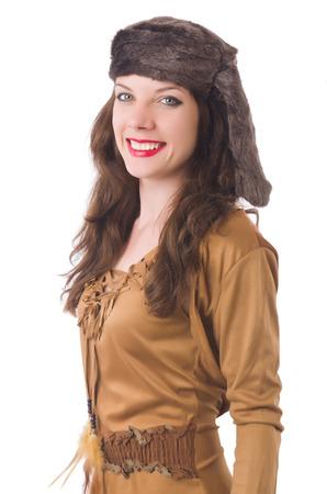 mujer pirata: Mujer joven en ropa pirata