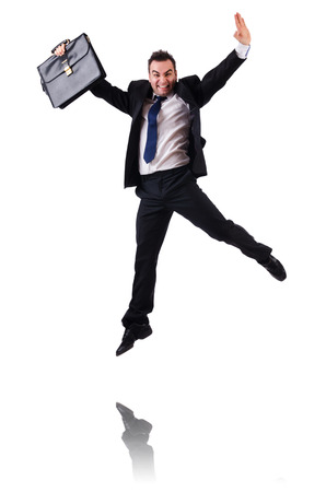 merry dancers: Jumping businessman isolated on the white