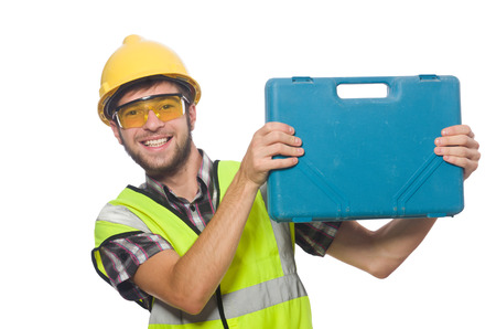 safety goggles: Industrial worker isolated on the white background
