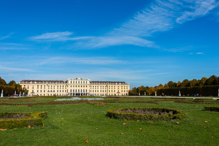 nbrunn: Vienna - OCTOBER 14: Schonbrunn Palace on October 14 in Vienna, Austria. Schonbrunn Palace building is one of the most popular tourist attractions in Vienna Editorial
