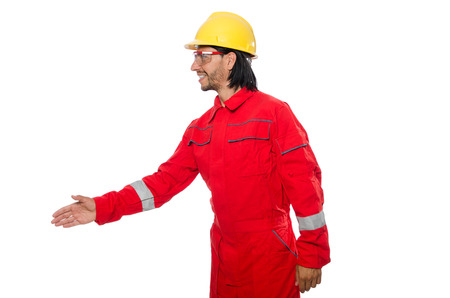 Industrial worker isolated on the white background photo