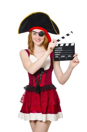 mujer pirata: Pirata de la mujer con la tarjeta de la pel�cula Foto de archivo