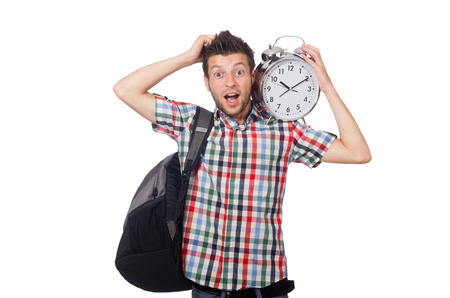 Student missing his deadlines isolated on white
