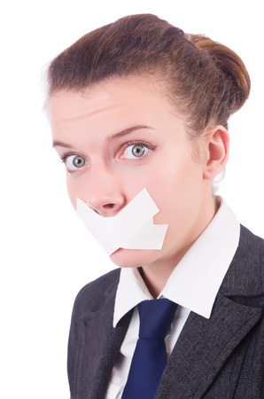 corporate espionage: Young woman in censorship concept Stock Photo