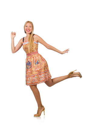 merry dancers: Young woman in fashion concept
