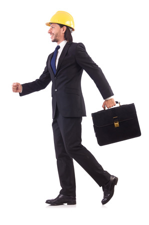 Young architect isolated on white photo