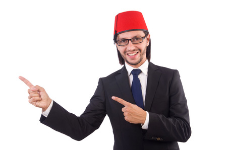 Businessman wearing fez hat isolated on white photo