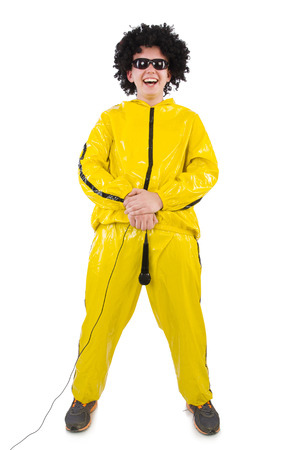afro hairdo: Man in yellow suit isolated on white