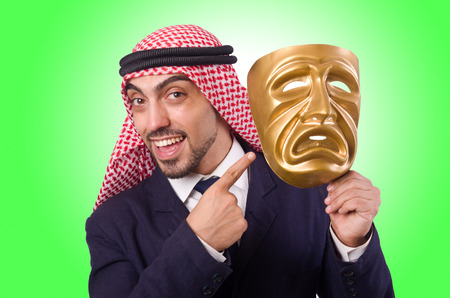 Arab man with mask on white photo