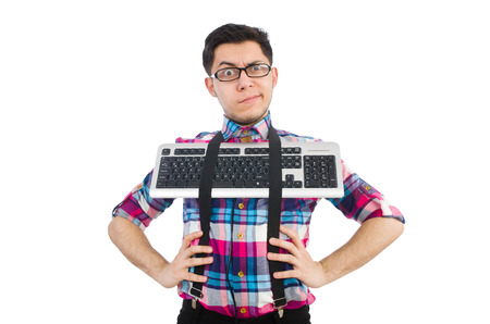 Computer nerd with keyboard isolated on white Stock Photo