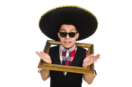 passepartout: Funny mexican with sombrero in concept