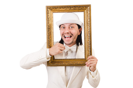 passepartout: Man in white costume with picture frame