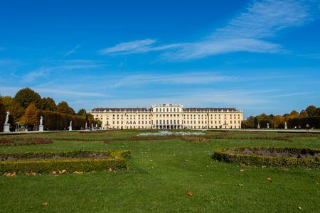 schloss schoenbrunn: Vienna - OCTOBER 14: Schonbrunn Palace on October 14 in Vienna, Austria. Schonbrunn Palace building is one of the most popular tourist attractions in Vienna Editorial