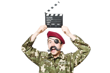 bullet camera: Funny soldier in military concept Stock Photo