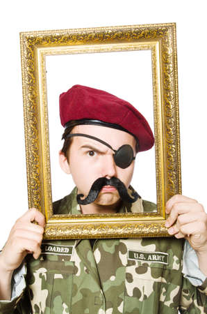 passepartout: Funny soldier in military concept Stock Photo